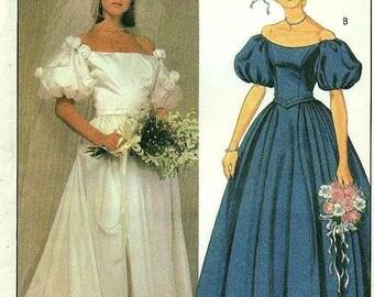 McCall's 9026 PRISCILLA Wedding Bride Dress Bridesmaids' Gown Off Shoulder Size 8 Vintage 1984