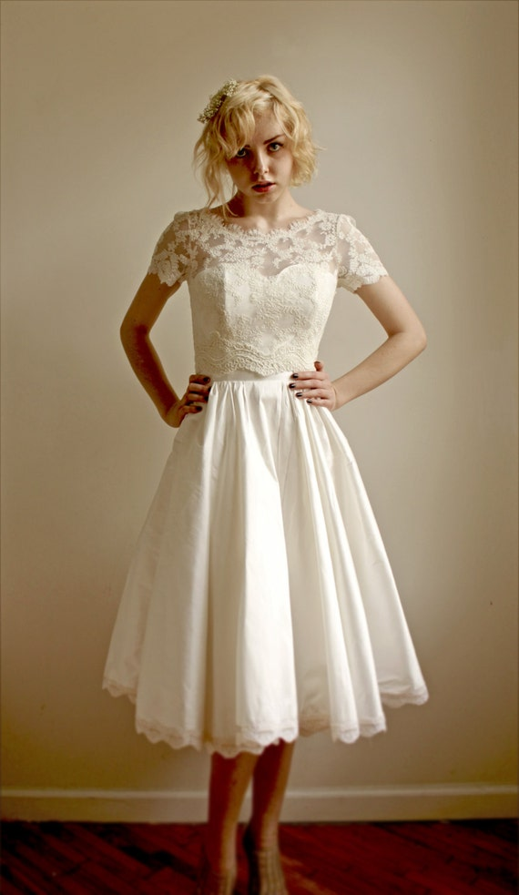 Items similar to 2 piece lace and silk wedding dress for 2 piece wedding dresses