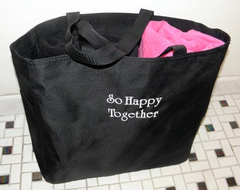 HIS & HERS TOWELS with Canvas Tote Bag Embroidered 100% cotton terry velour Bridal Shower Gifts Wedding Made to Order