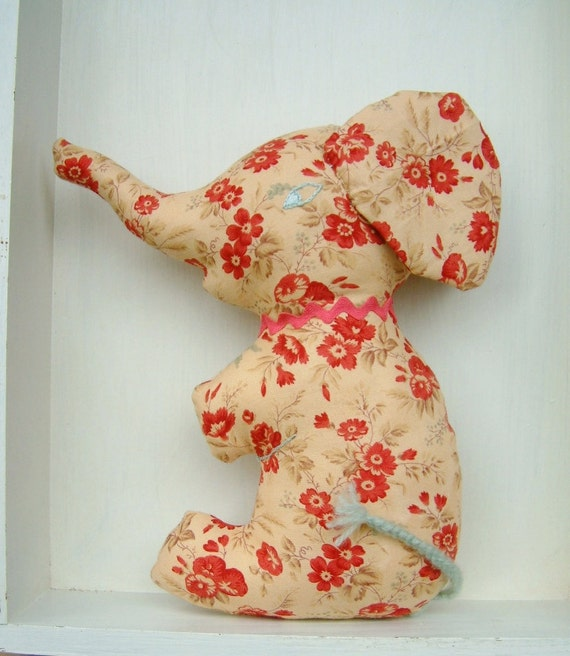 Vintage Inspired Classic Soft Pink Nursery: Items Similar To Retro Style Toy Soft Elephant Doll