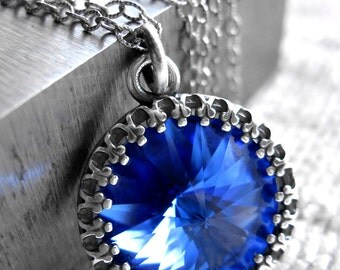 Bright Cobalt Blue Crystal Necklace - Swarovski Sapphire Blue Rivoli Crystal Pendant, Antiqued Silver, Vintage Style Bridesmaid Jewelry