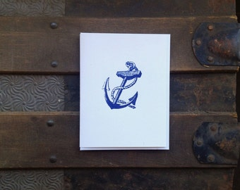 classical anchor letterpress greeting card