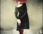 Fantôme Rouge Hat by Kambriel - Dramatic Edwardian Style with Sheer Red Bias Ruffles - Also Available in All Black Version