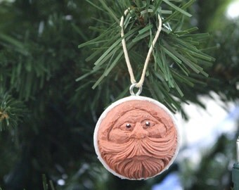 Carved Golf Ball Santa Ornament