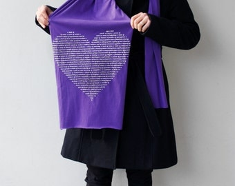 Amethyst Purple Animal Lover Scarf / Collective Nouns, Animal Groups, Heart Text Scarf , gift for her, womens scarf, animal lover