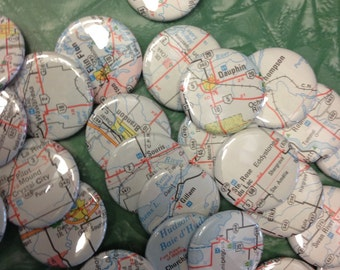 Five (5) Custom Pinback Buttons - Map of Manitoba Pick Your Small Towns