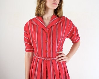 Vintage 1940s Dress • 40s Dress • 1940s Day Dress • 40s Cotton Dress • Striped 40s Dress • 1940s Red Dress • Dolman Sleeve Dress • 50s Dress