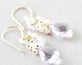 Amethyst Dangle Earrings, Moonstone Cluster Earrings, Purple Earrings, February Birthstone