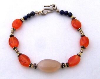 Natural gemstone bracelet, sterling silver, minimalist petite delicate style bracelet, blue Lapis, orange carnelian, agate, beaded