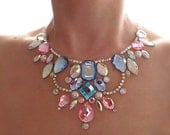 On Sale Pink and Blue Rhinestone Floating Illusion Necklace, Discount Pastel Cotton Candy Illusion Necklace, Floating Gem Necklace