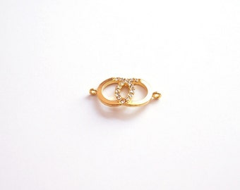 1pc- Matte Gold Plated Infinity Circle connector with glass bead, connector-25x17mm-(005-036GP)