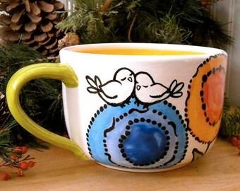 Personalized Large Soup Mug, Handled Bowl DEPOSIT - HandMade Wheel Thrown TO ORDER Custom Cappuccino Latte Coffee, Tea Cup