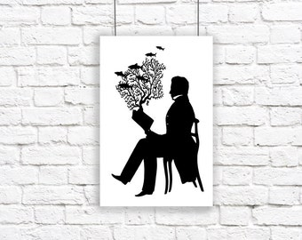 Large Print Silhouette A Very Good Book Indeed Nautical Reading Black and White Beach House Decor