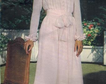 1980s Vogue 2641 American Designers Vintage Sewing Pattern Albert Nipon Misses Dress and Slip in 2 Lengths Size 12 Bust