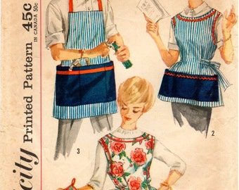 UNCUT Vintage Simplicity Simple to Sew Pattern 3206 - Misses & Mens Apron and Pot Holder - Small 10-12