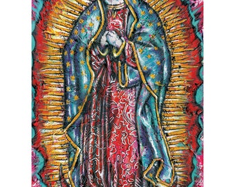 The Holy Peanut - The Virgin Mary Holy Cat - 12 x 18 High Quality, Signed  Art Print