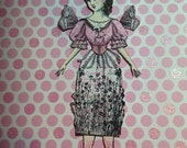 October Breast Cancer Awareness Month - Vintage Style Articulated Paper Doll