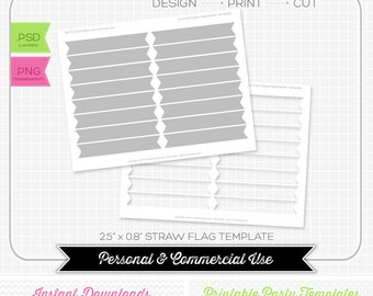 Drinking Straw Wrapper Flag Template - INSTANT DOWNLOAD - PRINTABLE - Make your own party printables