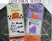24 Halloween Lunchbox Notes / Notes for Kids / School Notes / Halloween Notes / Halloween Gift Tags / Kids Gift Notes / Halloween Treat Tags