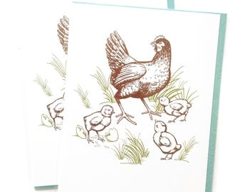 Single A2 size Hen and Chicks Greeting Cards, blank inside, rad original farm Chickens design, recycled paper, made in Portland Oreogn