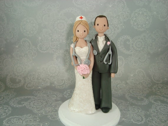 nurse wedding cake toppers custom handmade doctor amp wedding cake topper by mudcards 17951