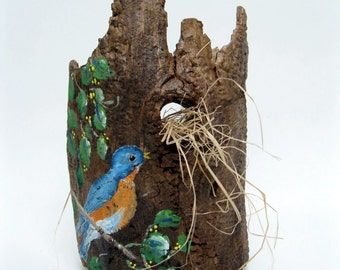 Painted Blue Bird on Tree Bark, Natural Sculpture, Nature Decor, Weathered Wood, Rustic Decor