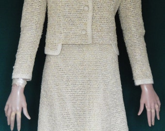 Fab Vintage 60s Heavy Cotton Crocheted Jacket and Skirt Suit Outfit Ecru  Yellow B36