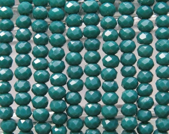 4x3mm Faceted Opaque Hunter Green Chinese Crystal Rondelle Beads 7 Inch Strand (4CCS14)