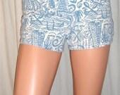 Vintage Esprit Blue White Hot Pants Short Shorts 3/4