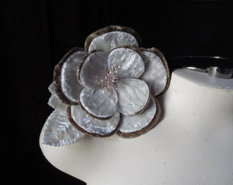 Velvet Millinery Flower in Ivory & Mocha for Bridal, Hats MF 110
