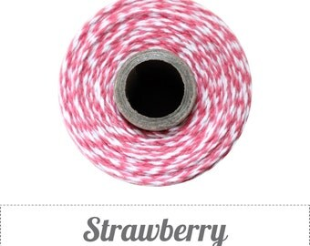 240 Yards (Full Spool) of Striped Bakers Twine . Strawberry & White
