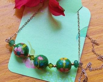 Green Cloisonne, Swarovski Crystal, Sterling Silver Necklace