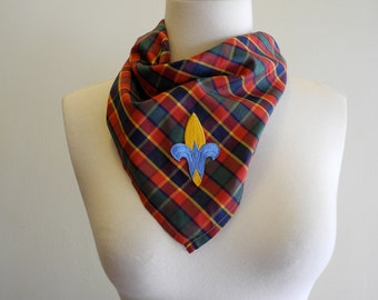 Boy Scout webelo plaid BANDANA with patch