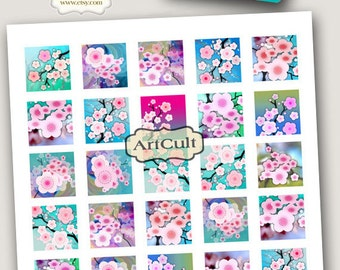 1x1 inch and 7/8x7/8 inch size square Images SAKURA Digital Collage Sheet Printable downloads for pendants, magnets, bezel settings ArtCult