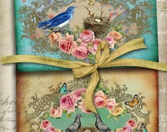 Printable download LOVE NEST Digital Collage Sheet Greeting Cards Victorian Vintage Ephemera shabby chic Roses paper craft Art Cult designs