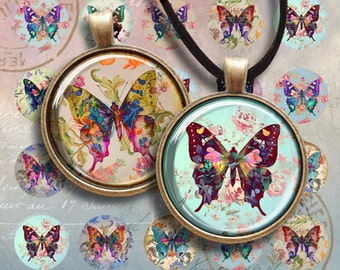 30 mm images SHABBY BUTTERFLIES  Printable digital download for round pendants bezel trays glass cabochon mountings cameo settings Art Cult