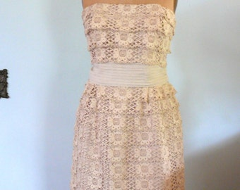 vintage 1960s Dress  // Cream Lace Dress
