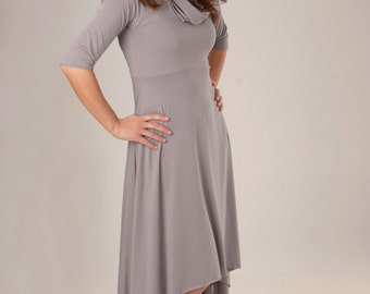 Cowl Neck Dress - Organic Fabric - Many Colors Available