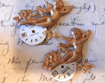 Cupid with vintage Watch face