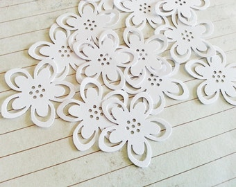 24 WEDDING WHITE Lily Punch Die Cut Embellishments