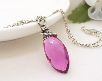 Bright pink necklace, Sterling silver wire wrapped necklace, handmade hot pink quartz necklace, Bright pink jewelry