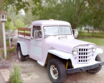 Pink Vintage Truck Photo, Shabby Chic Decor, Dreamy Pink Truck Wall Art, Dreamy Pink Shabby Chic Vintage Truck, Cottage Pink Truck Photo