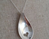 Heart Necklace, Spoon Necklace, Spoon Jewellery, Heart Cutout, silver heart necklace, spoon heart necklace, Heart Gift, Birthday Gift