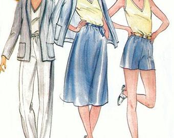 1980s Butterick 3738 Uncut (10-14) Misses Wardrobe Pattern Resort Wear Jacket Top Skirt Pants Shorts Womens Vintage Sewing Pattern UNCUT 80s