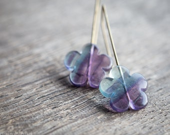 Modern Drop Earrings Fluorite Flower Purple Emerald Urban Minimalist Geometric Jewelry organic eco friendly