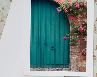 French Country Photo Notecard - Roses Over a Blue Cottage Door, France Travel Photo Note Card, Stationery