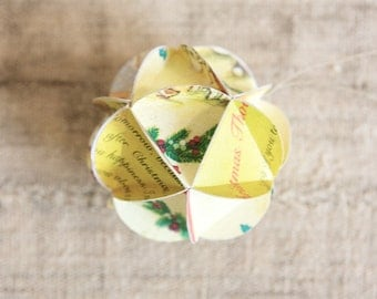 READY TO SHIP Geometric Upcycled Paper Ornament-Yellow Tones