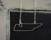 Tennessee Necklace - Tennessee State Necklace - State Necklace - State Jewelry - State Necklaces - Silver or Gold
