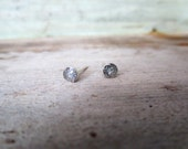 Iridescent White Glitter Stud Earrings Silver 4mm