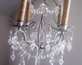 Lush Pizzazz Silver/Chrome 4 Candle Chandelier MADE TO ORDER